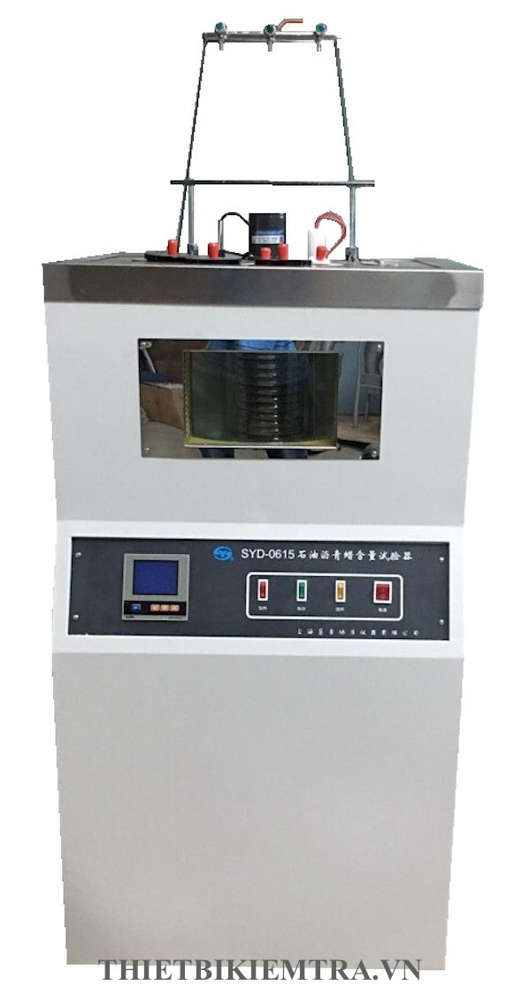 Máy xác định hàm lượng paraffin là thiết bị dùng để xác định hàm lượng sáp Paraffin trong nhựa đường. Máy xác định hàm lượng paraffin trong nhựa đường Model SYD-0615 thiết kế dựa theo tiêu chuẩn T 0615- 2011 về xác định hàm lượng sáp Paraffin trong nhựa đường bằng phương pháp chưng cất theo tiêu chuẩn của Trung Quốc JTG E20-2011 và phương pháp thử nhựa rải đường và hỗn hợp nhựa cho công nghệ đường cao tốc và tiêu chuẩn thử SH/T0425 về hàm lượng sáp Paraffin của nhựa đường.